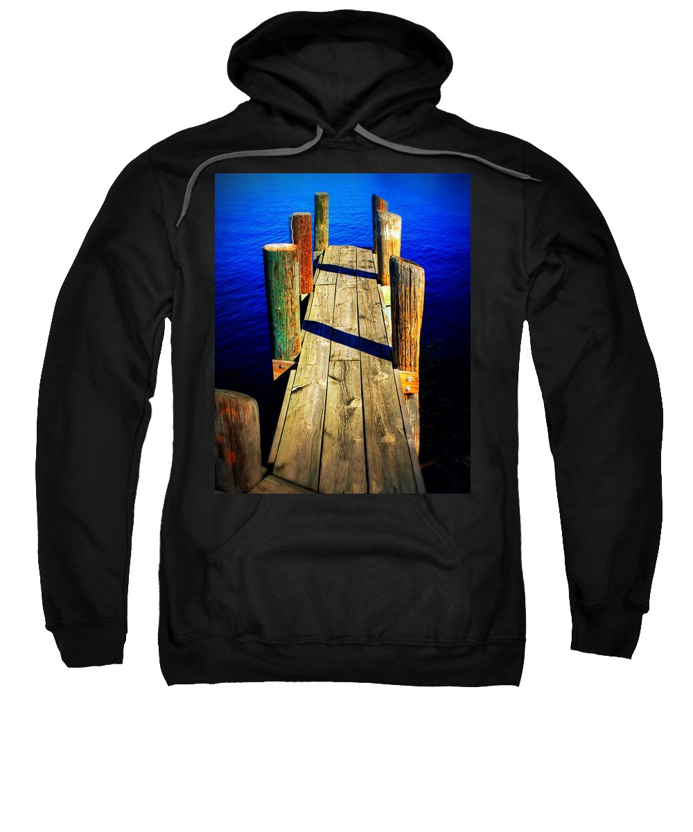 Dock Sweatshirt featuring the photograph Lake Dock by Perry Webster