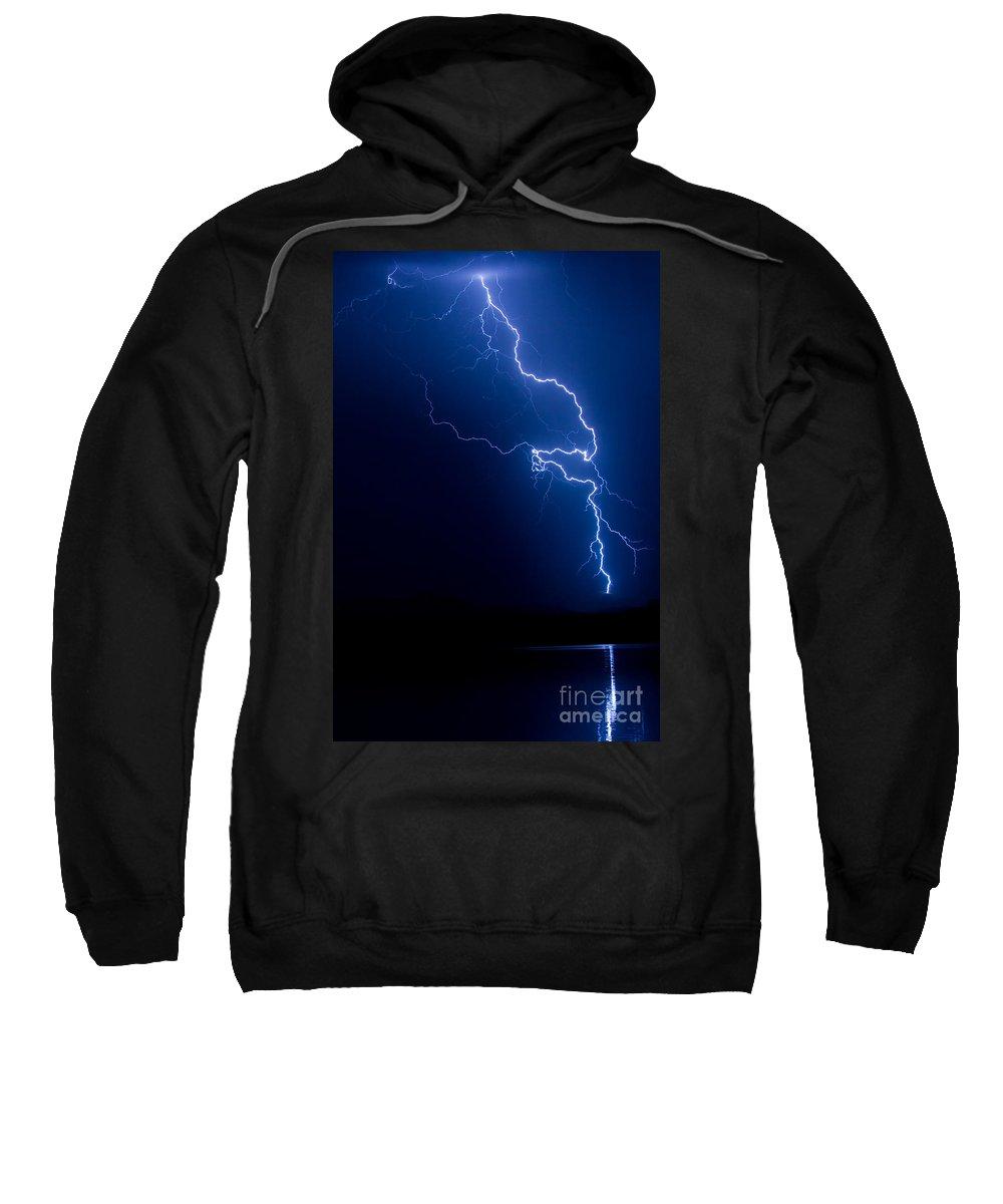 Lightning Sweatshirt featuring the photograph Lake Lightning Strike by James BO Insogna