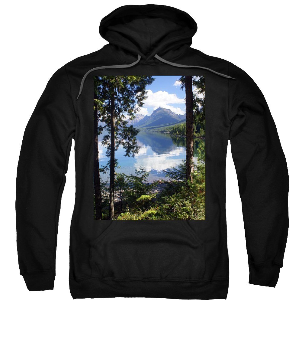 Glacier National Park Sweatshirt featuring the photograph Lake Mcdlonald Through The Trees Glacier National Park by Marty Koch