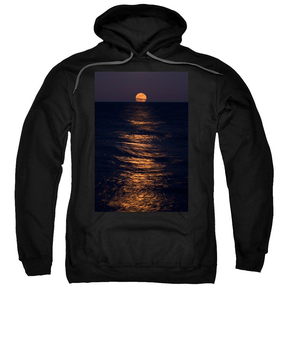Chicago Sweatshirt featuring the photograph Lake Michigan Moonrise by Steve Gadomski