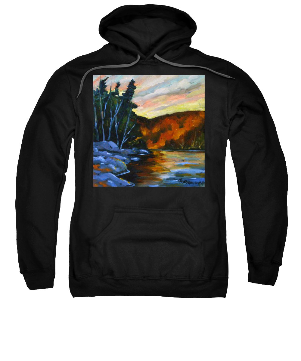 Art Sweatshirt featuring the painting Lake Reflections by Richard T Pranke