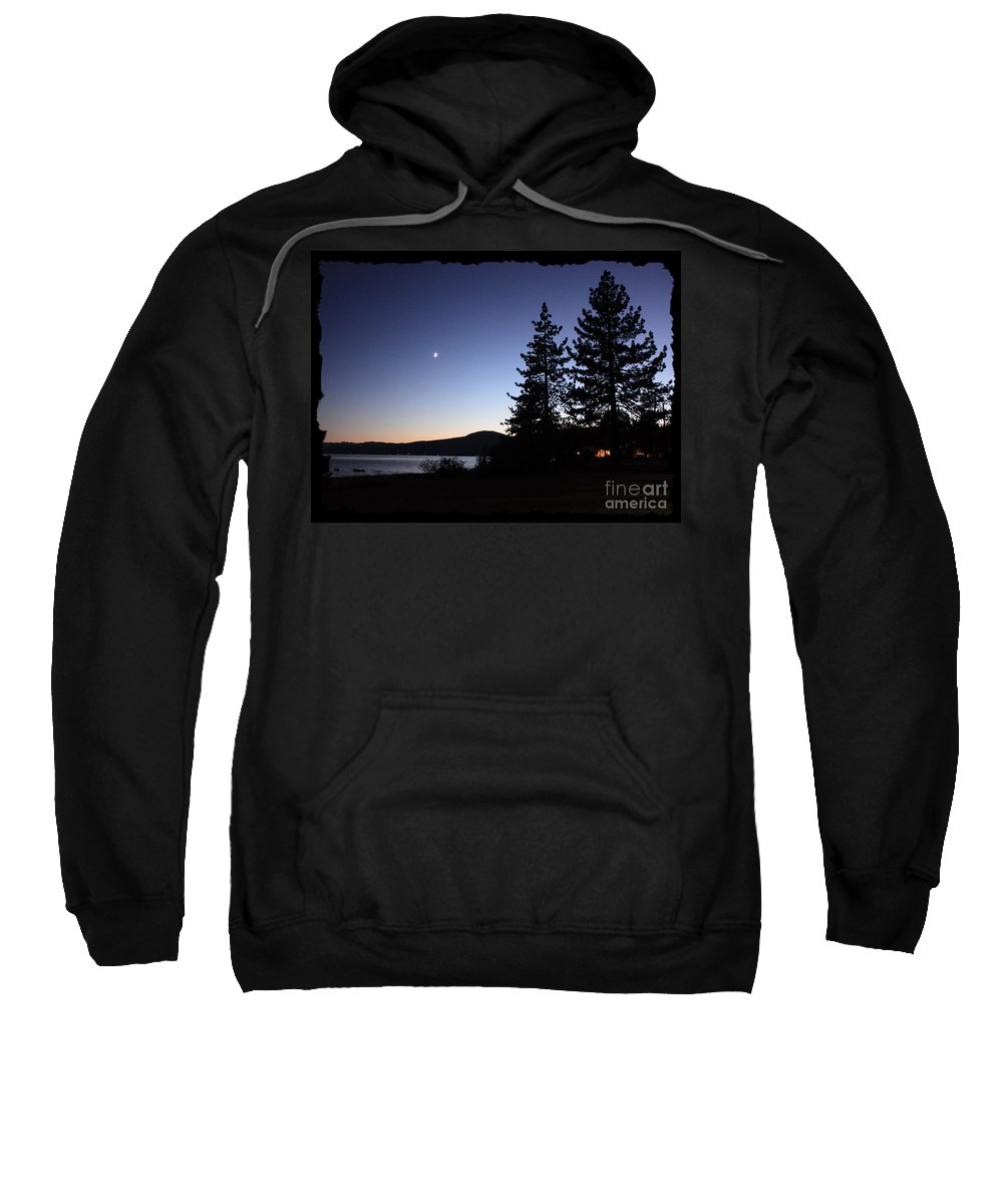 Lake Tahoe Sunset Sweatshirt featuring the photograph Lake Tahoe Sunset With Trees And Black Framing by Carol Groenen