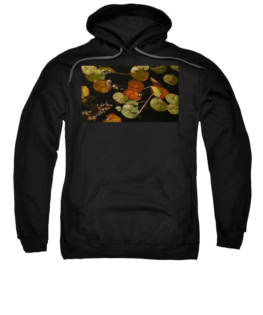 Lily Pad Sweatshirt featuring the painting Lake Washington Lily Pad 15 by Thu Nguyen