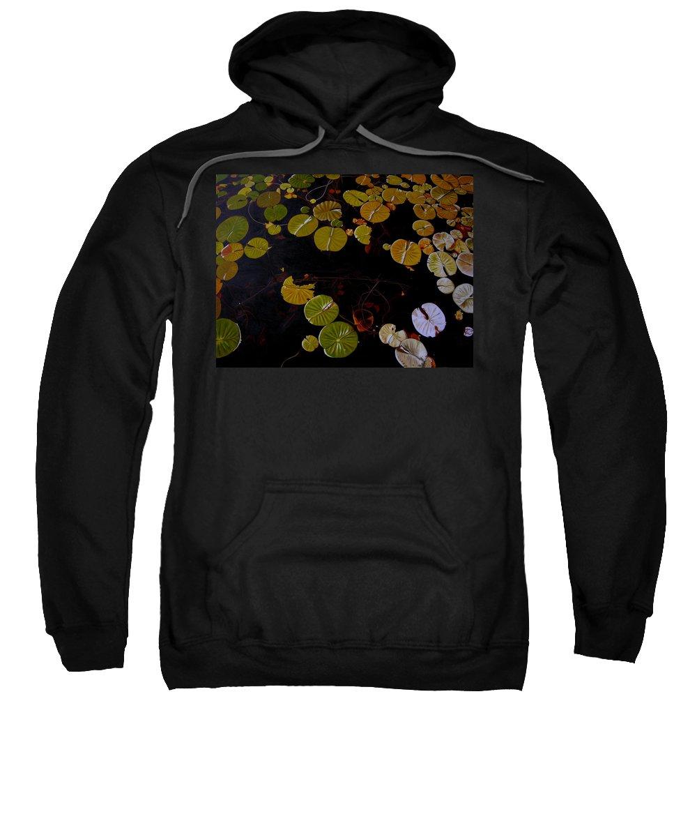 Water Sweatshirt featuring the painting Lake Washington Lilypad 8 by Thu Nguyen