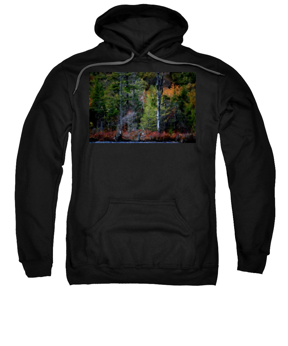 Digital Photograph Sweatshirt featuring the photograph Lakeside In The Autumn by David Lane