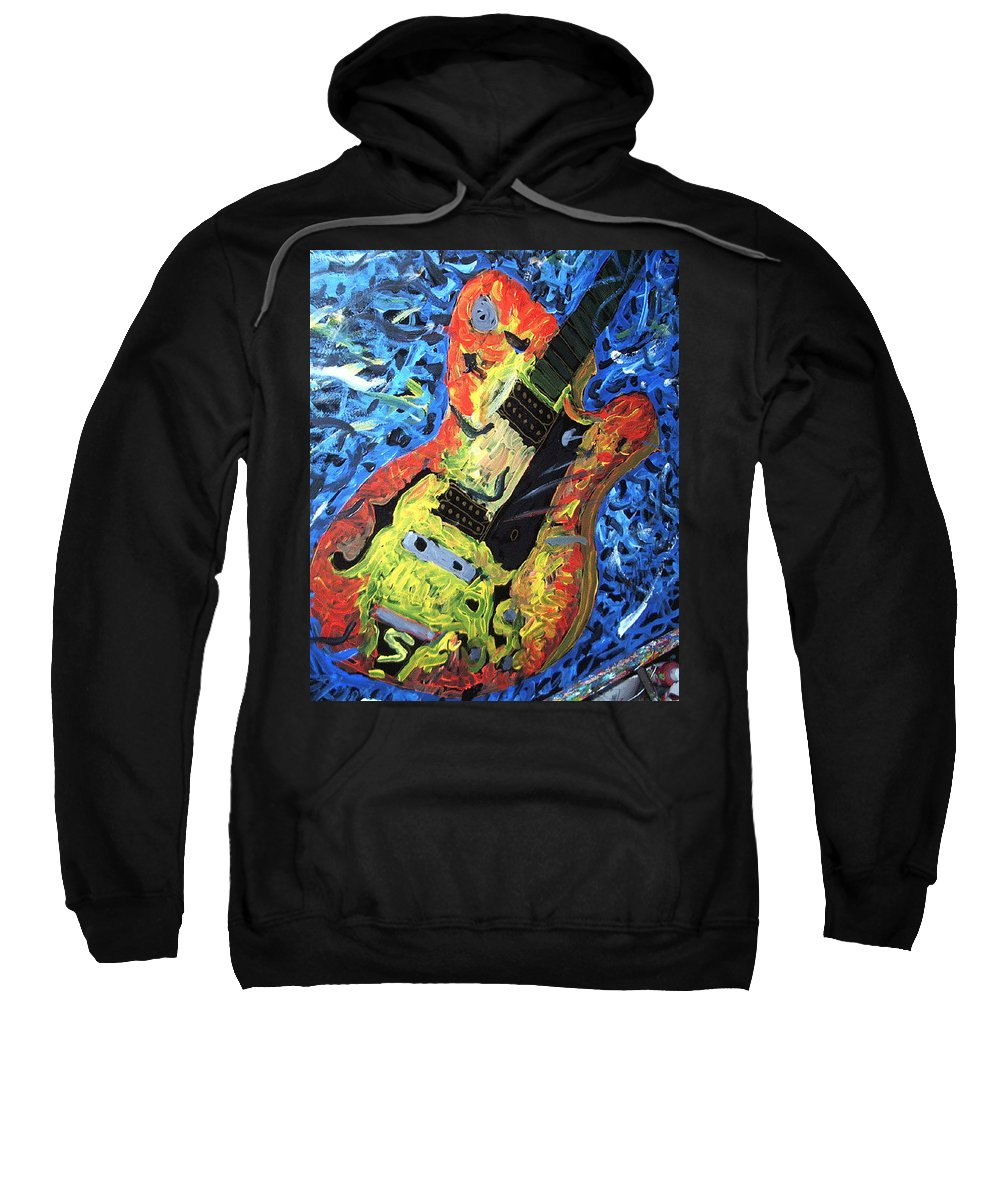 Larry Carlton Sweatshirt featuring the painting Larry Carlton Guitar by Neal Barbosa