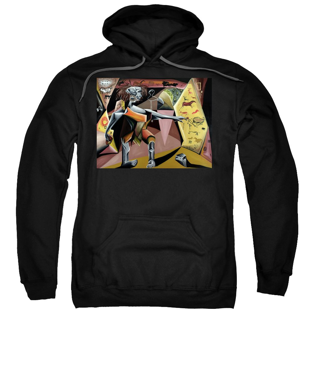 Abstract Sweatshirt featuring the painting Lascaux by Ryan Demaree