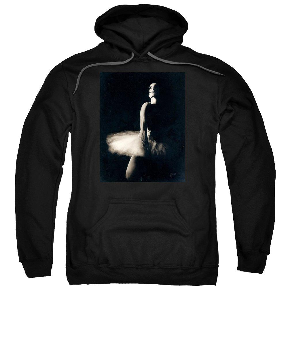 Ballerina Sweatshirt featuring the painting Last Dance by Janet Lavida