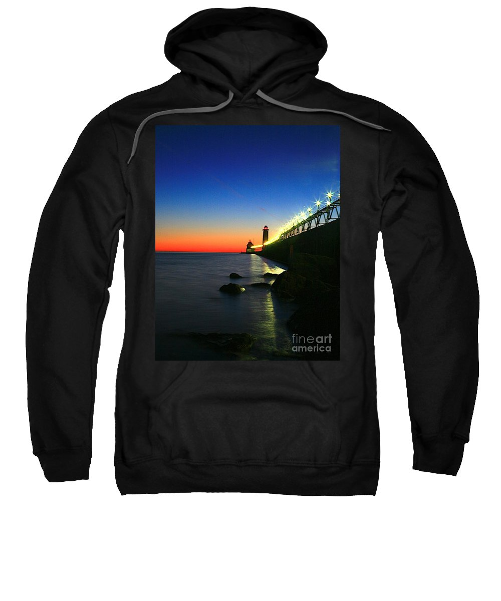Water Sweatshirt featuring the photograph Last Light Grand Haven Michigan by Robert Pearson