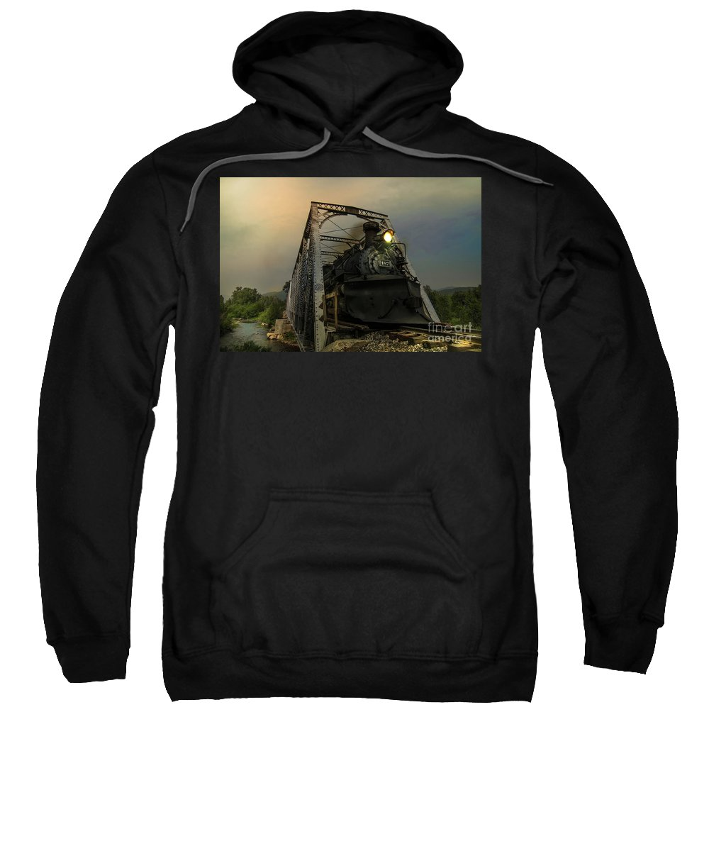 Transportation Sweatshirt featuring the photograph Last Train Into Chama by Robert Frederick
