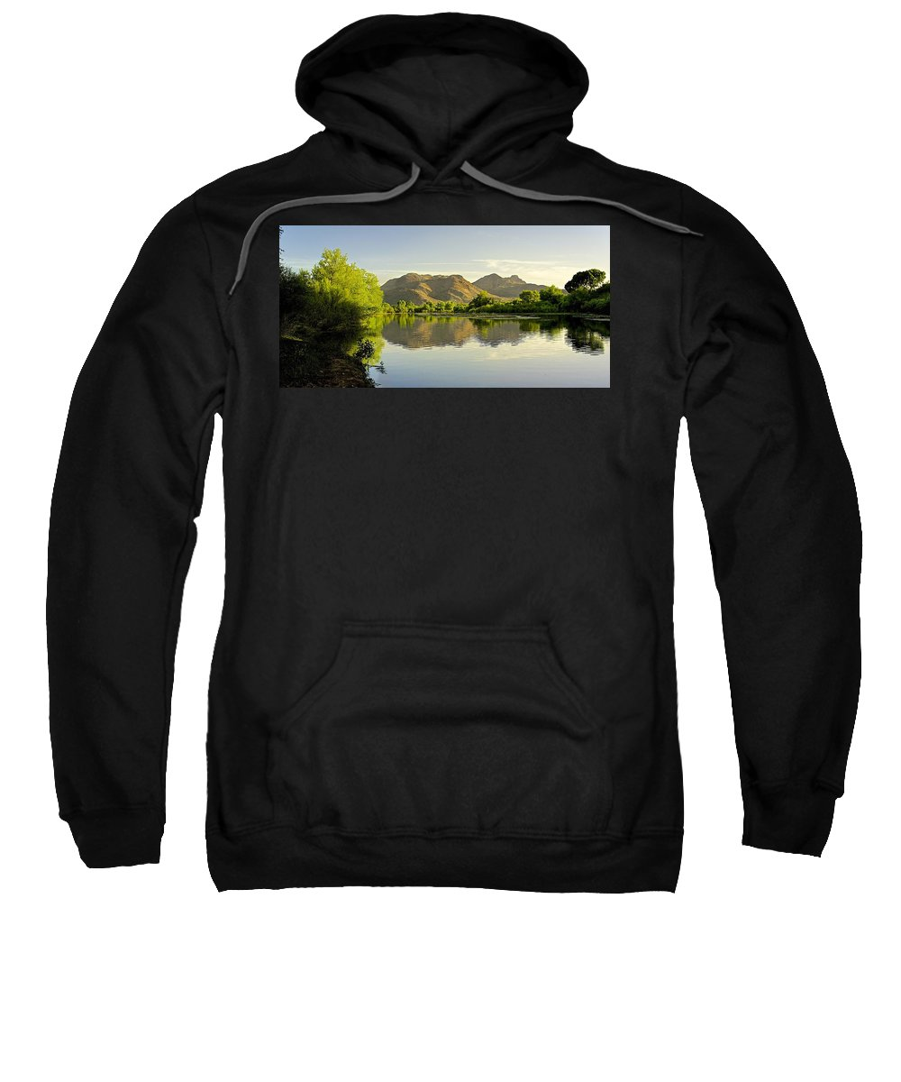 River Sweatshirt featuring the photograph Late Afternoon At Rio Verde River by Barbara Zahno