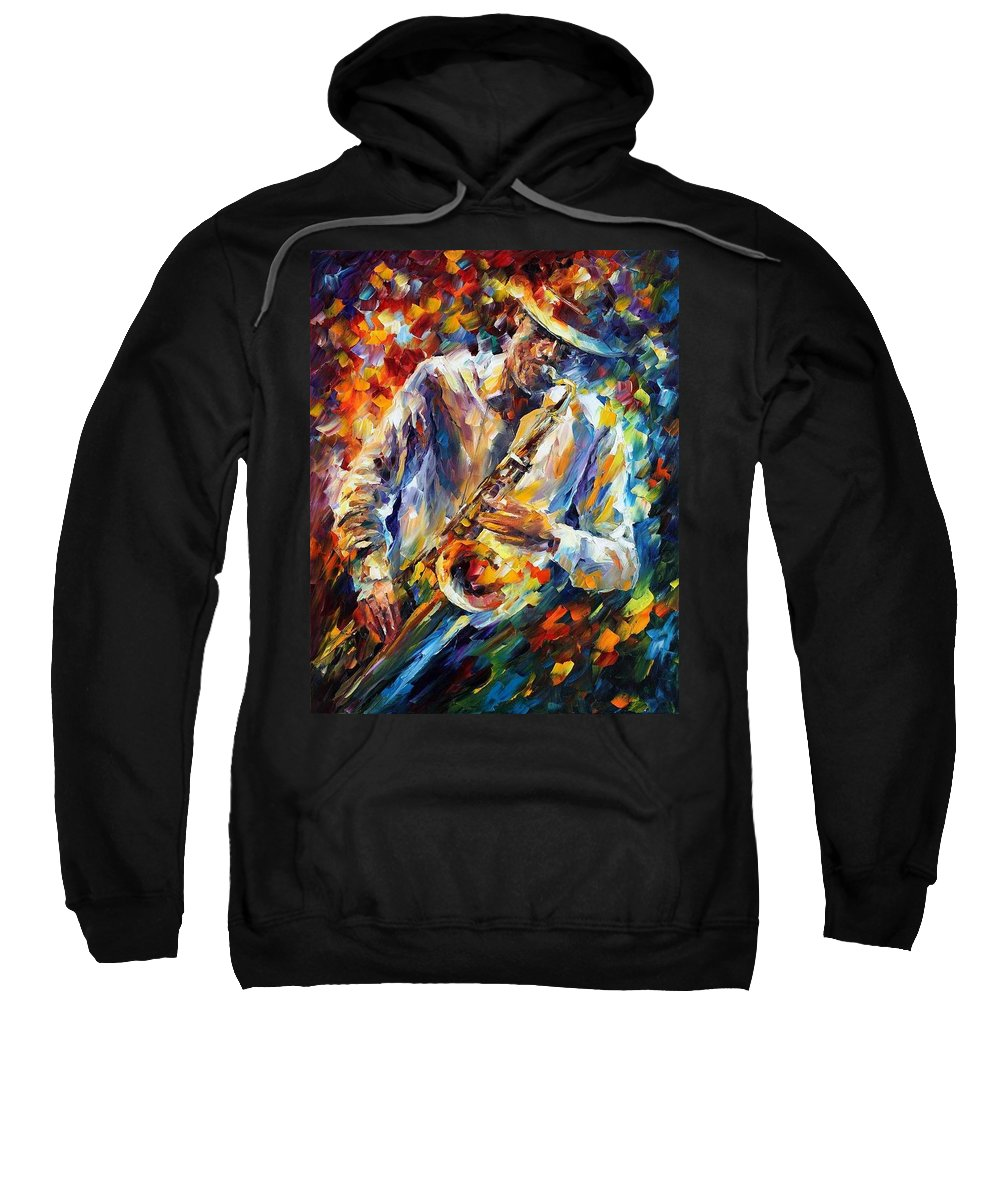 Afremov Sweatshirt featuring the painting Late Music by Leonid Afremov