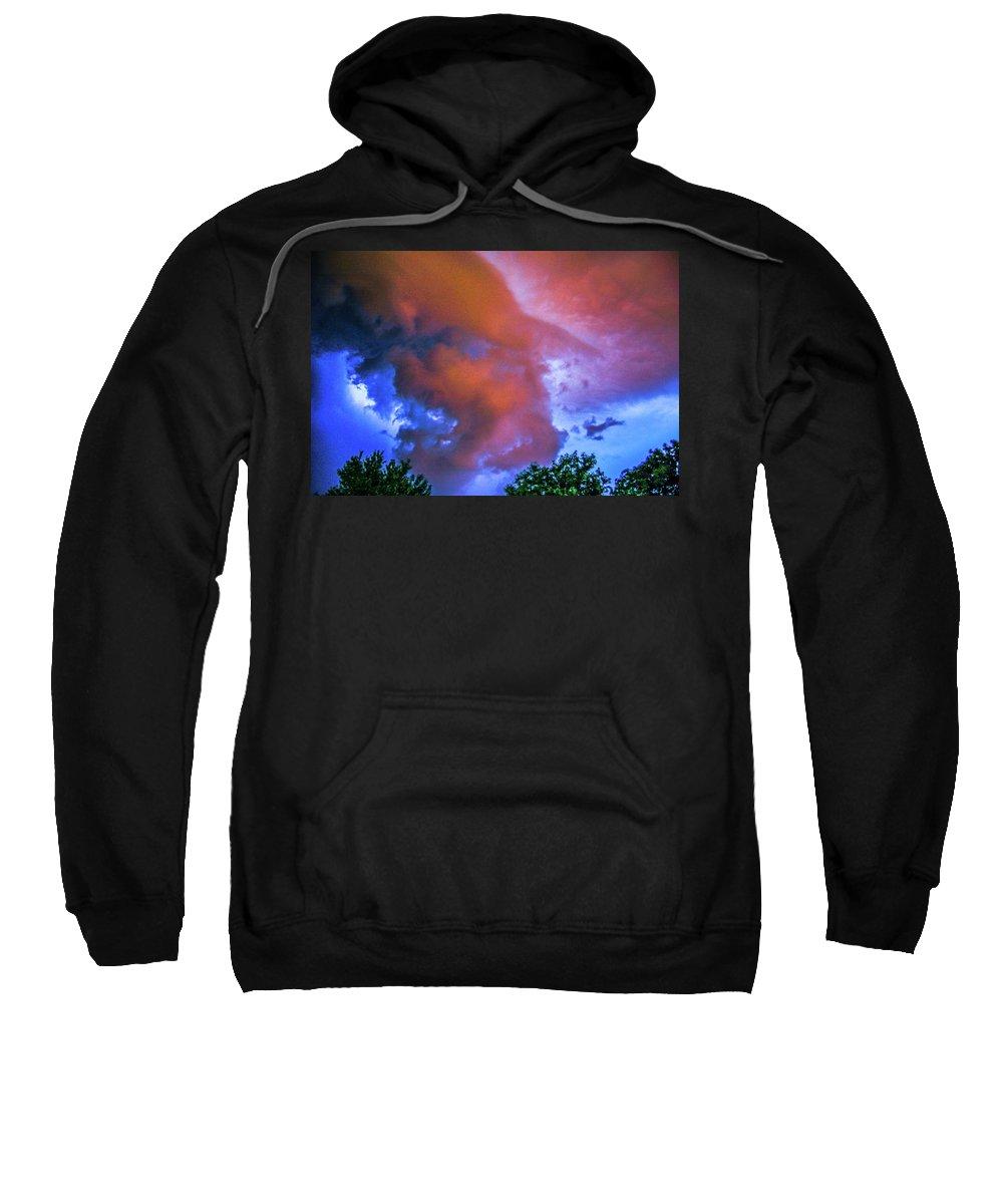 Nebraskasc Sweatshirt featuring the photograph Late Night Nebraska Shelf Cloud 010 by NebraskaSC