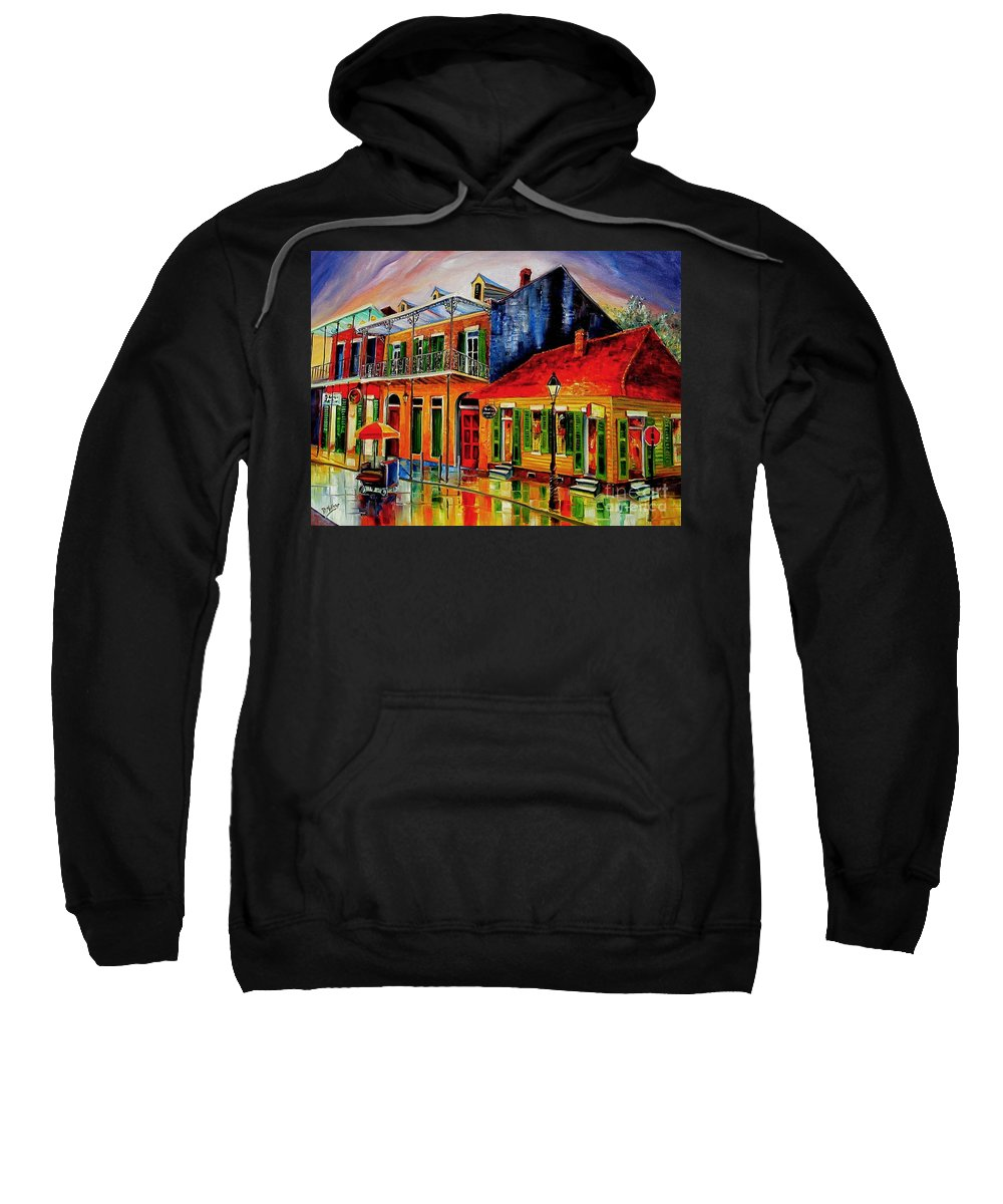 New Orleans Sweatshirt featuring the painting Late On Bourbon Street by Diane Millsap