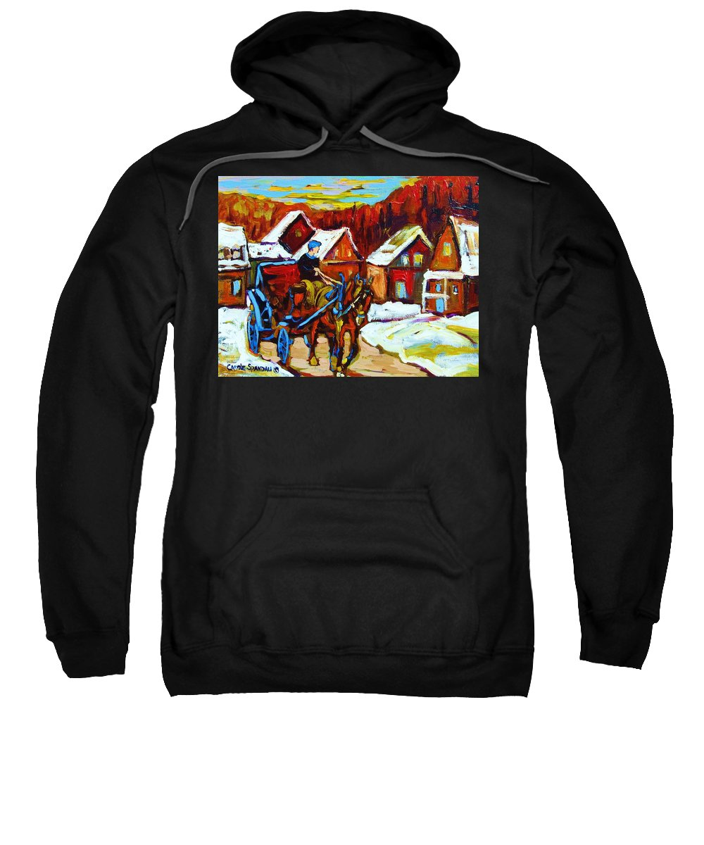 Horse And Carriage Sweatshirt featuring the painting Laurentian Village Ride by Carole Spandau