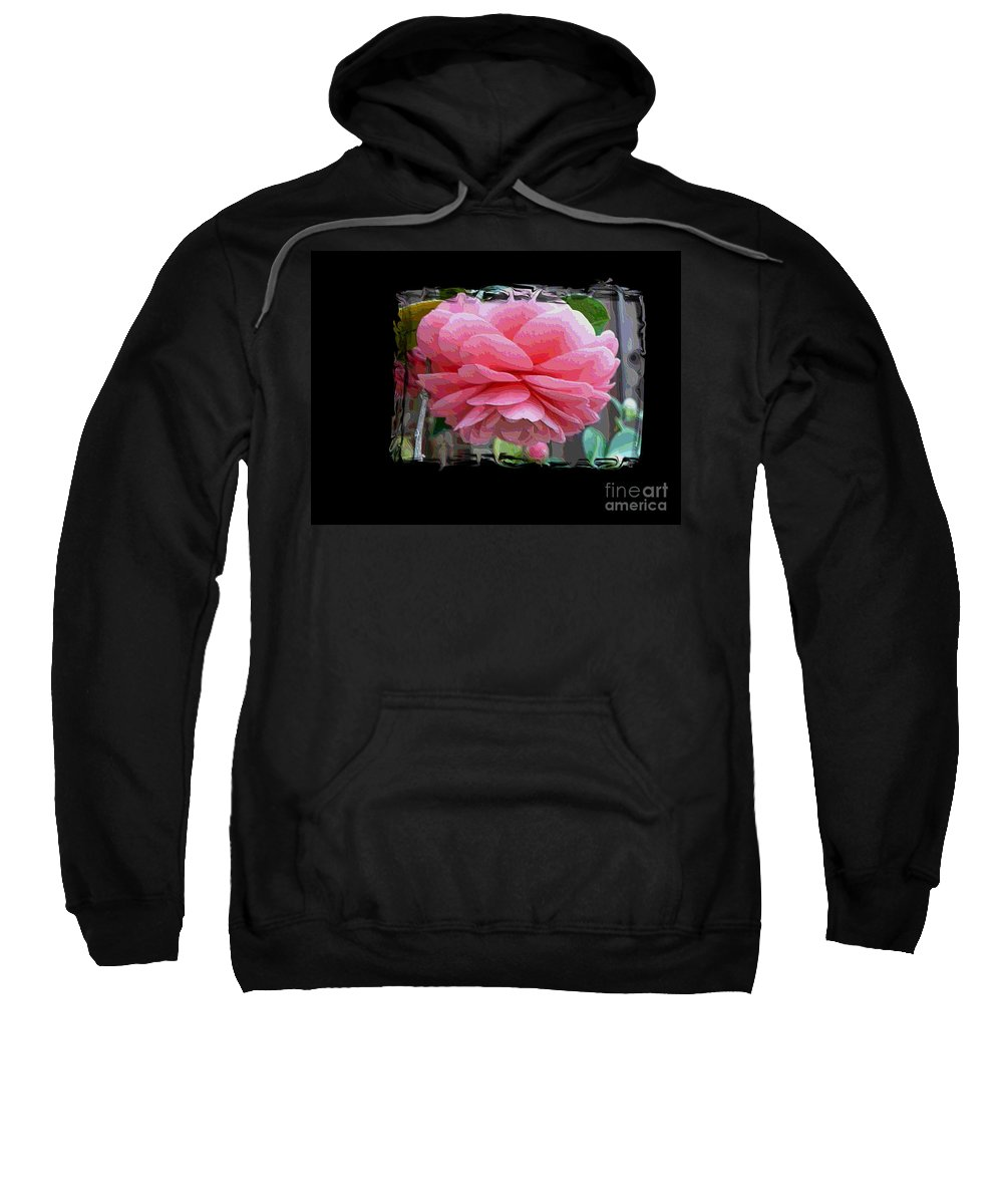 Pink Camellia Sweatshirt featuring the digital art Layers Of Pink Camellia Dream by Carol Groenen