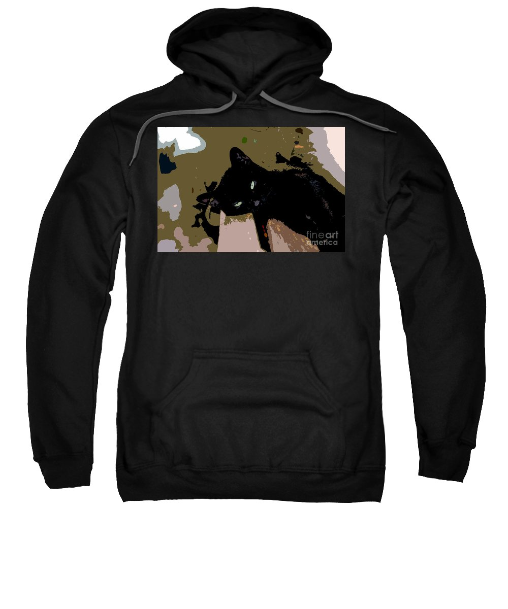 Black Cat Sweatshirt featuring the painting Lazy Cat by David Lee Thompson