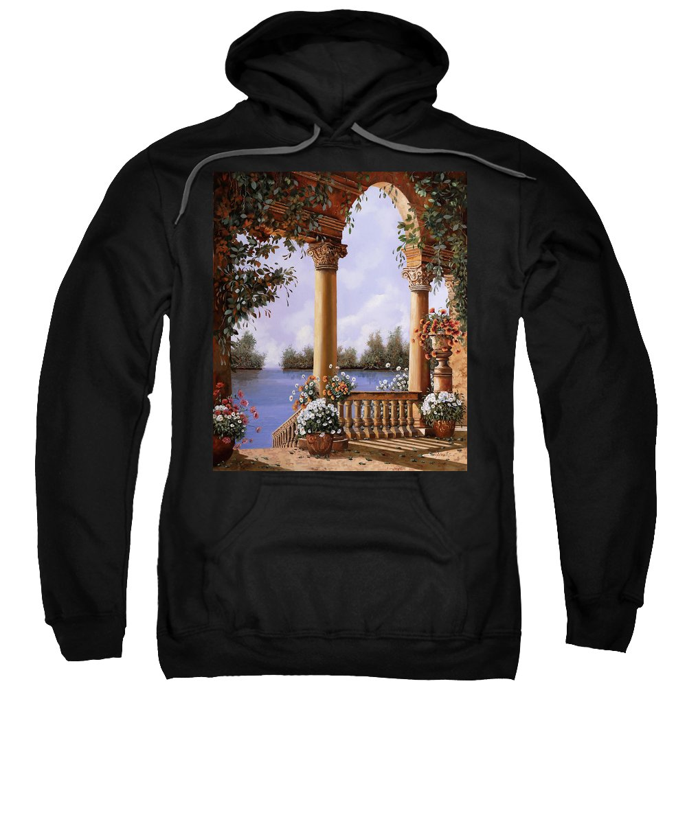 Arch Sweatshirt featuring the painting Le Arcate Chiuse Sul Lago by Guido Borelli