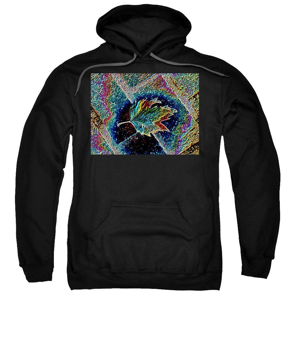 Leaf Sweatshirt featuring the photograph Leaf On Bricks 3 by Tim Allen
