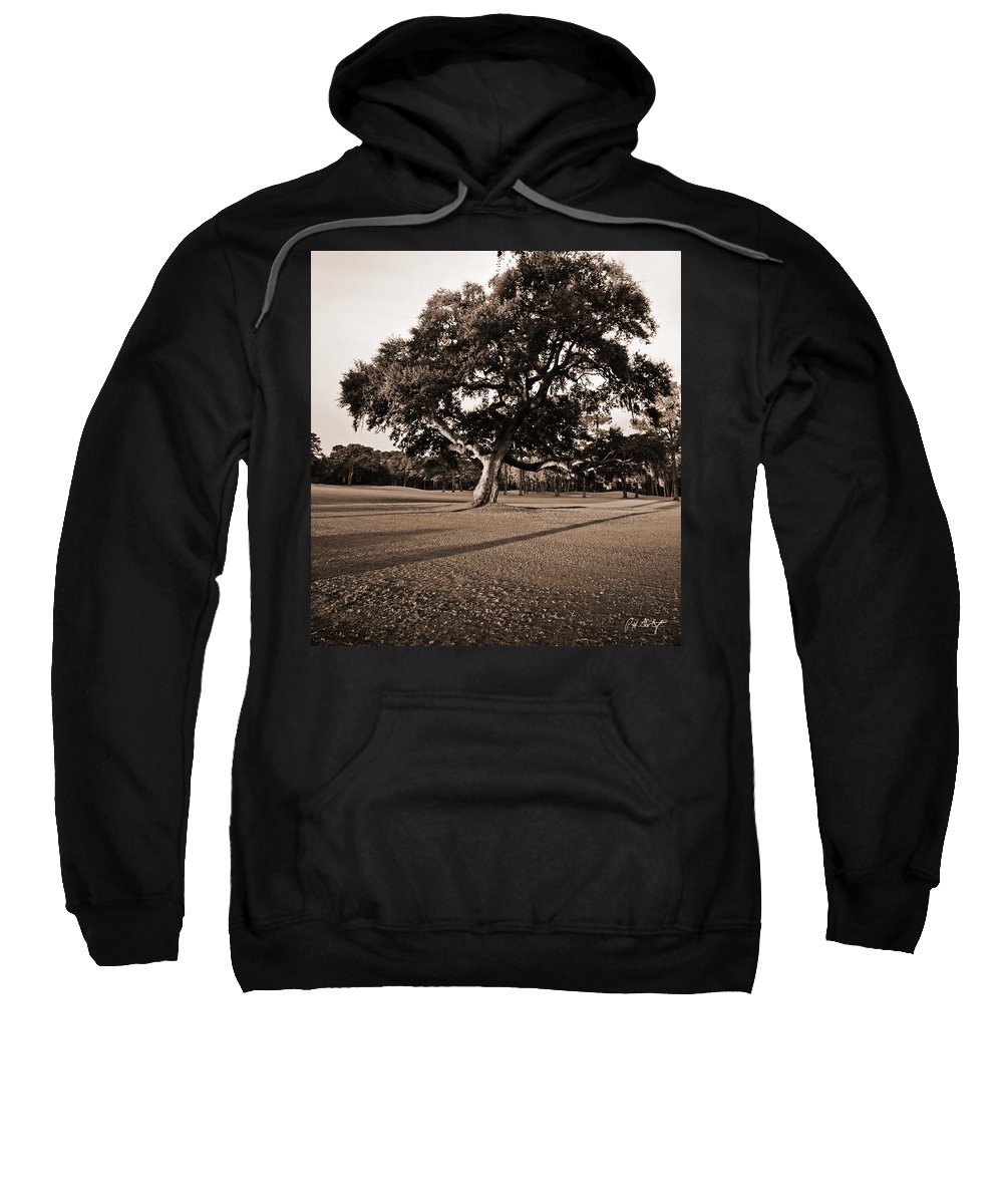 Black & White Sweatshirt featuring the photograph Leaning Tree by Phill Doherty