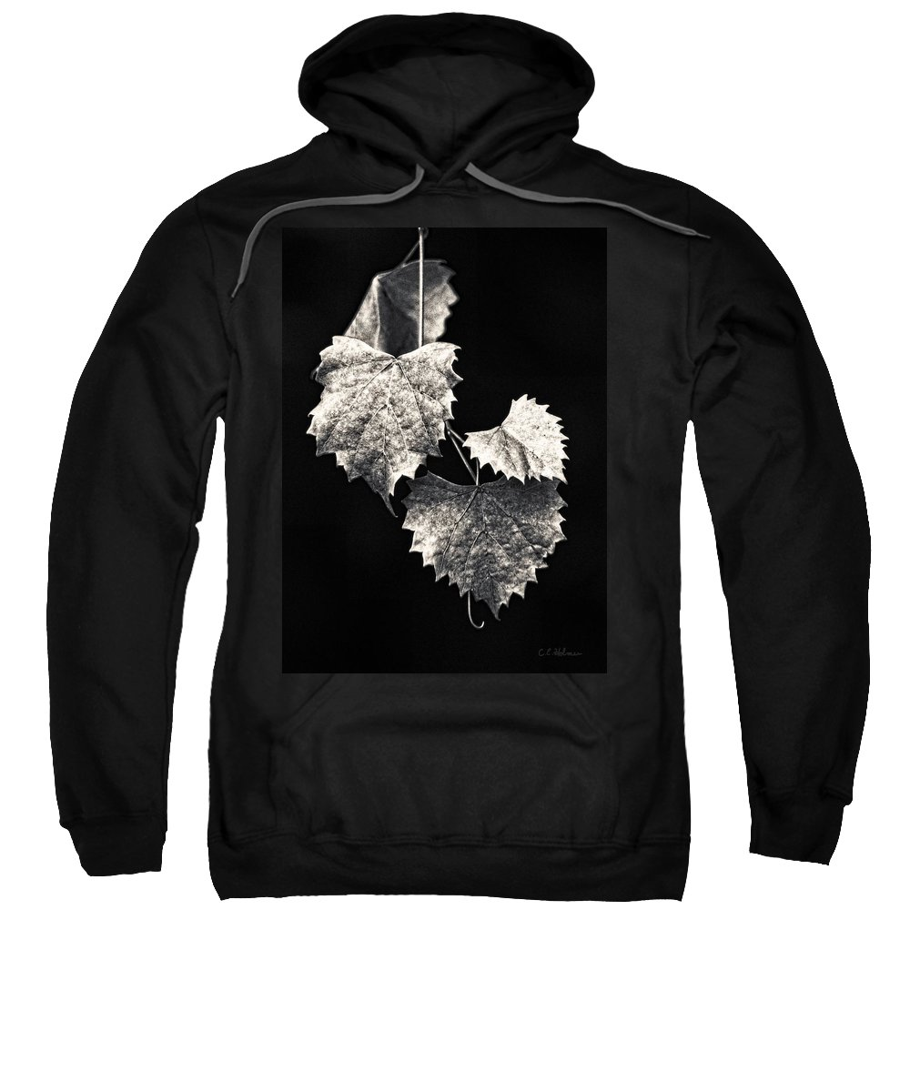 B&w Sweatshirt featuring the photograph Leaves by Christopher Holmes