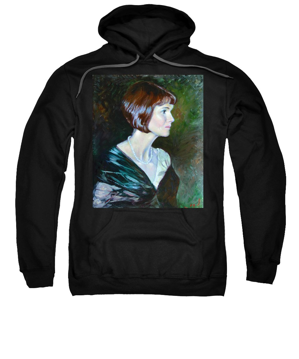 Portrait Sweatshirt featuring the painting Ledy In Green by Ylli Haruni