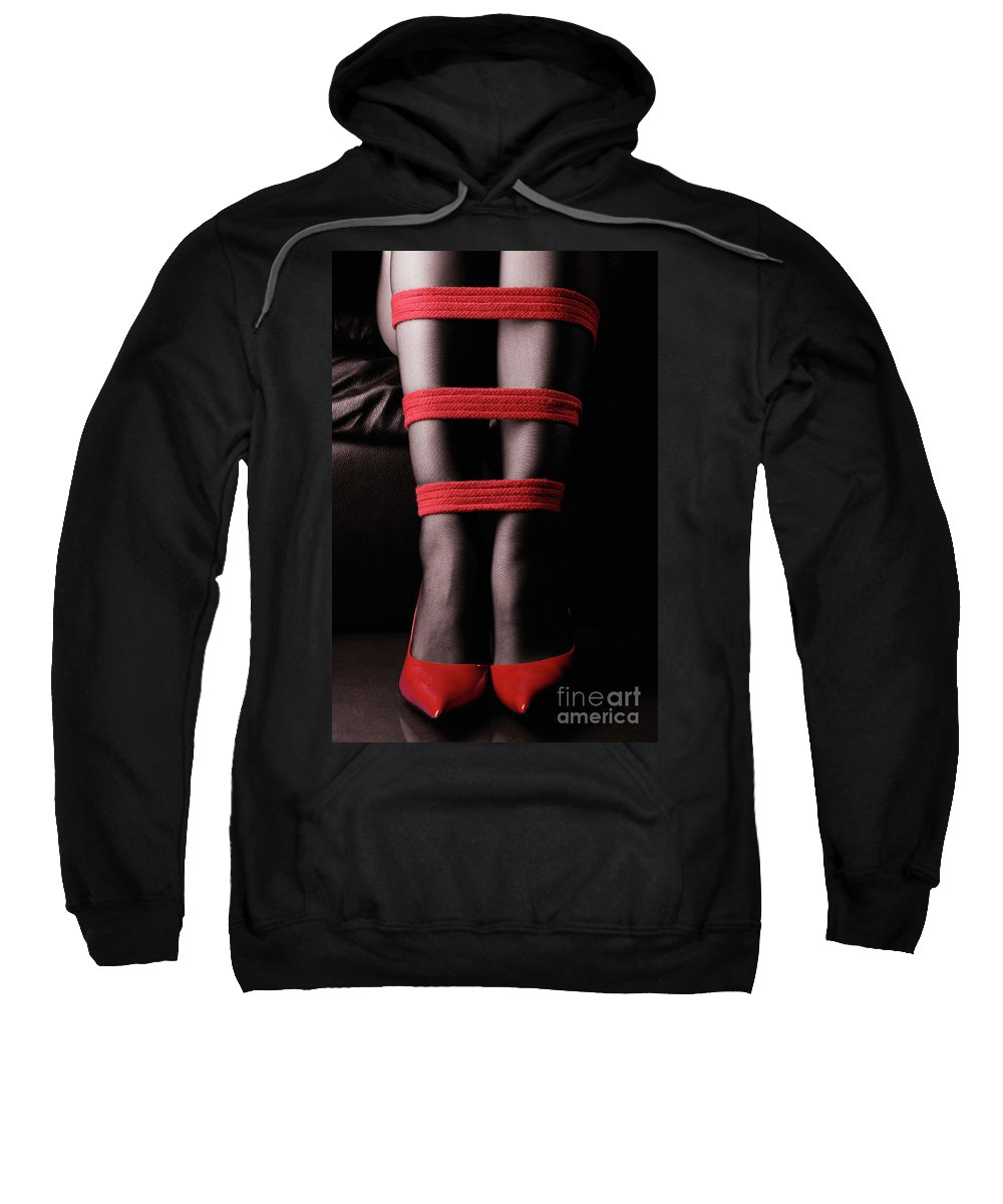 Legs Sweatshirt featuring the photograph Legs In Red Ropes by Oleksiy Maksymenko