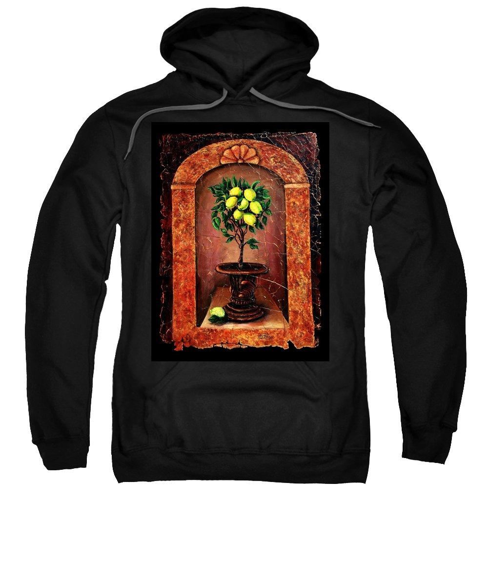 Fresco Antique Sweatshirt featuring the painting Lemon Tree by OLena Art Lena Owens