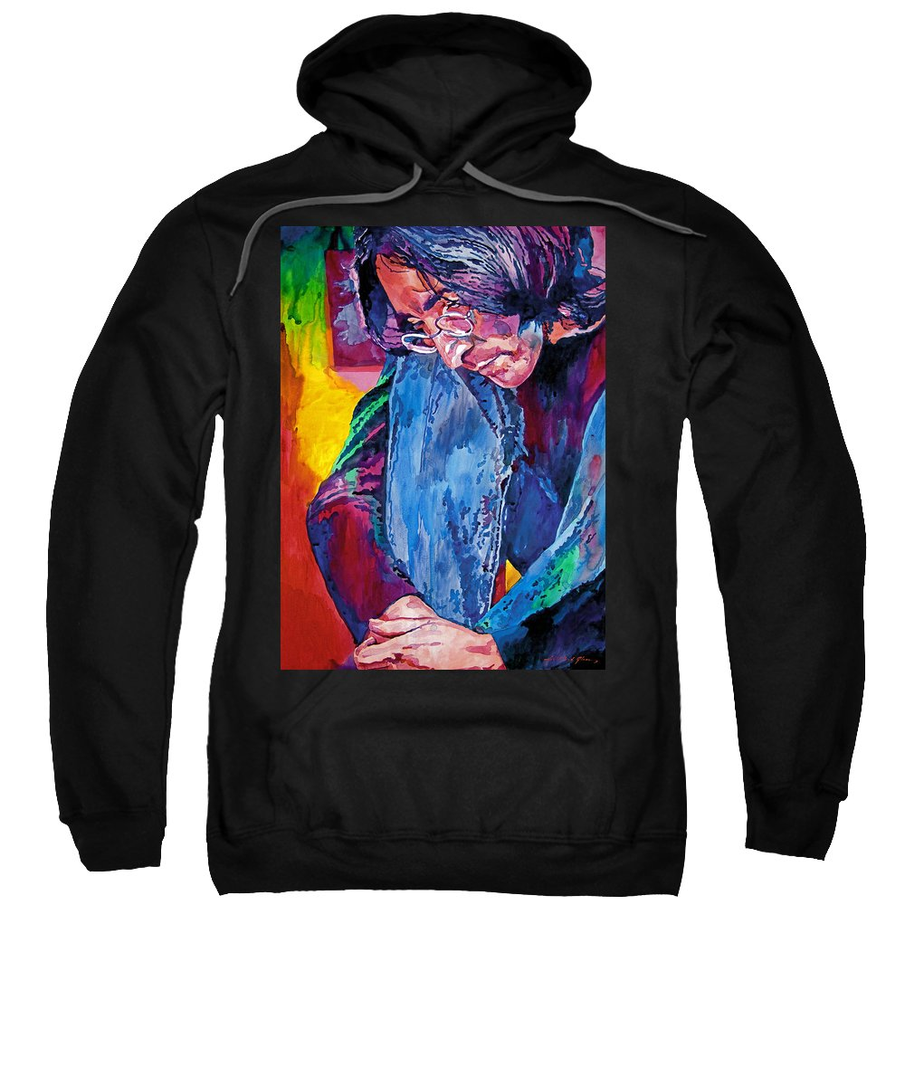 Rock Star Sweatshirt featuring the painting Lennon In Repose by David Lloyd Glover