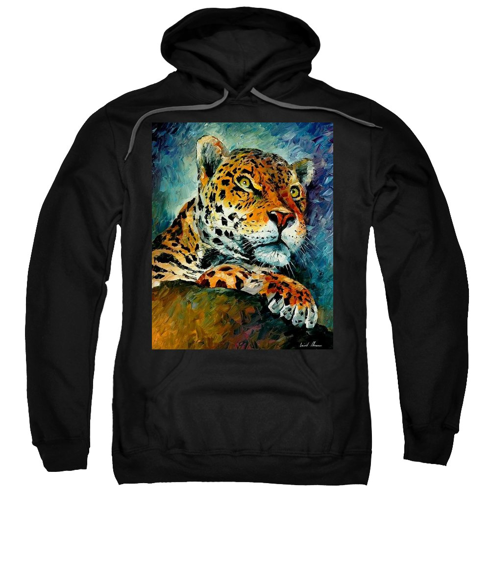 Animals Sweatshirt featuring the painting Leopard by Leonid Afremov