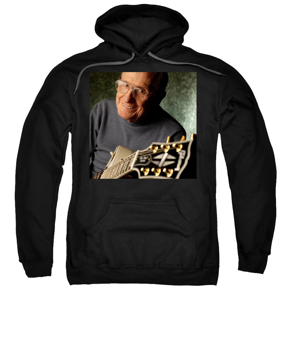 Les Paul Sweatshirt featuring the photograph Les Paul With His White Gibson Les Paul Custom Guitar By Gene Martin by David Smith