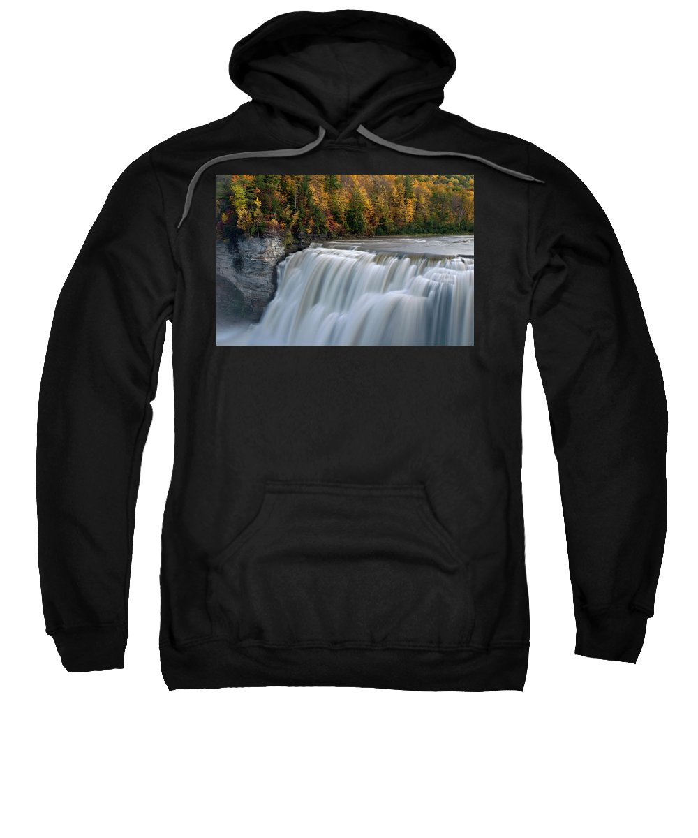 Letchworth Falls State Park Sweatshirt featuring the photograph Letchworth Falls Sp Middle Falls by Dean Hueber