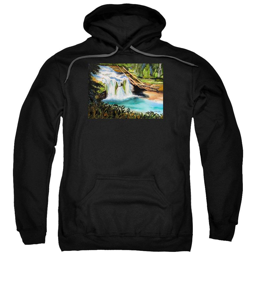 Water Sweatshirt featuring the painting Lewis River Falls by Karen Stark