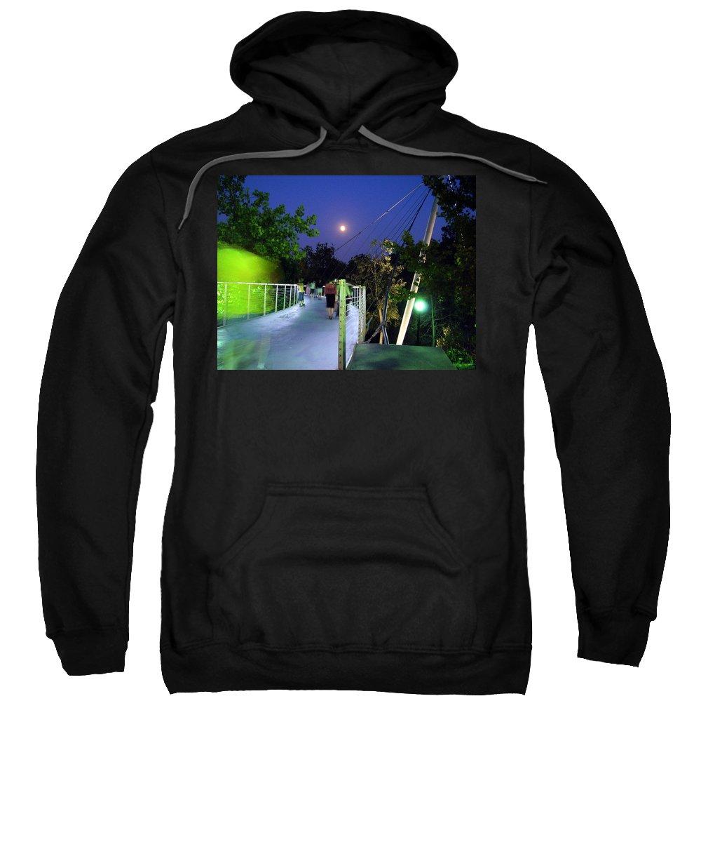 Liberty Bridge Sweatshirt featuring the photograph Liberty Bridge At Night Greenville South Carolina by Flavia Westerwelle