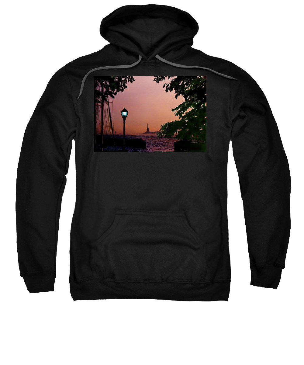 Seascape Sweatshirt featuring the digital art Liberty Fading Seascape by Steve Karol