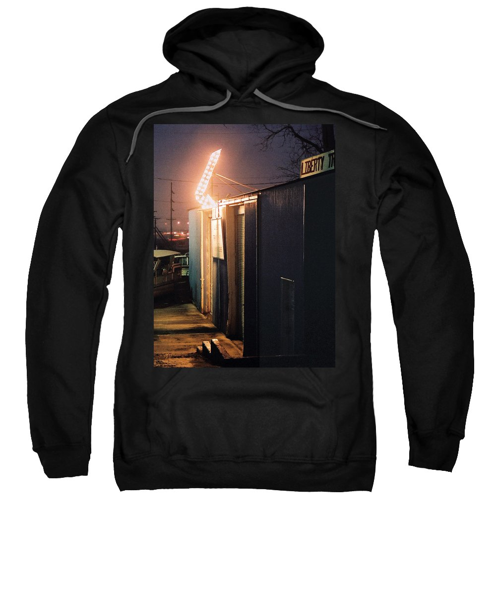 Night Scene Sweatshirt featuring the photograph Liberty by Steve Karol