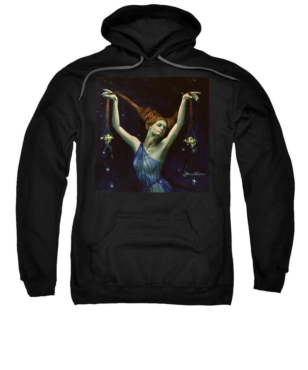 Art Sweatshirt featuring the painting Libra From Zodiac Series by Dorina Costras
