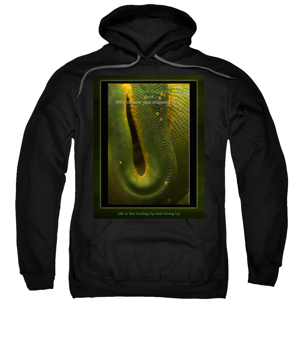 Snake Sweatshirt featuring the mixed media Life Is Not Curling Up And Giving Up by Thomas Woolworth