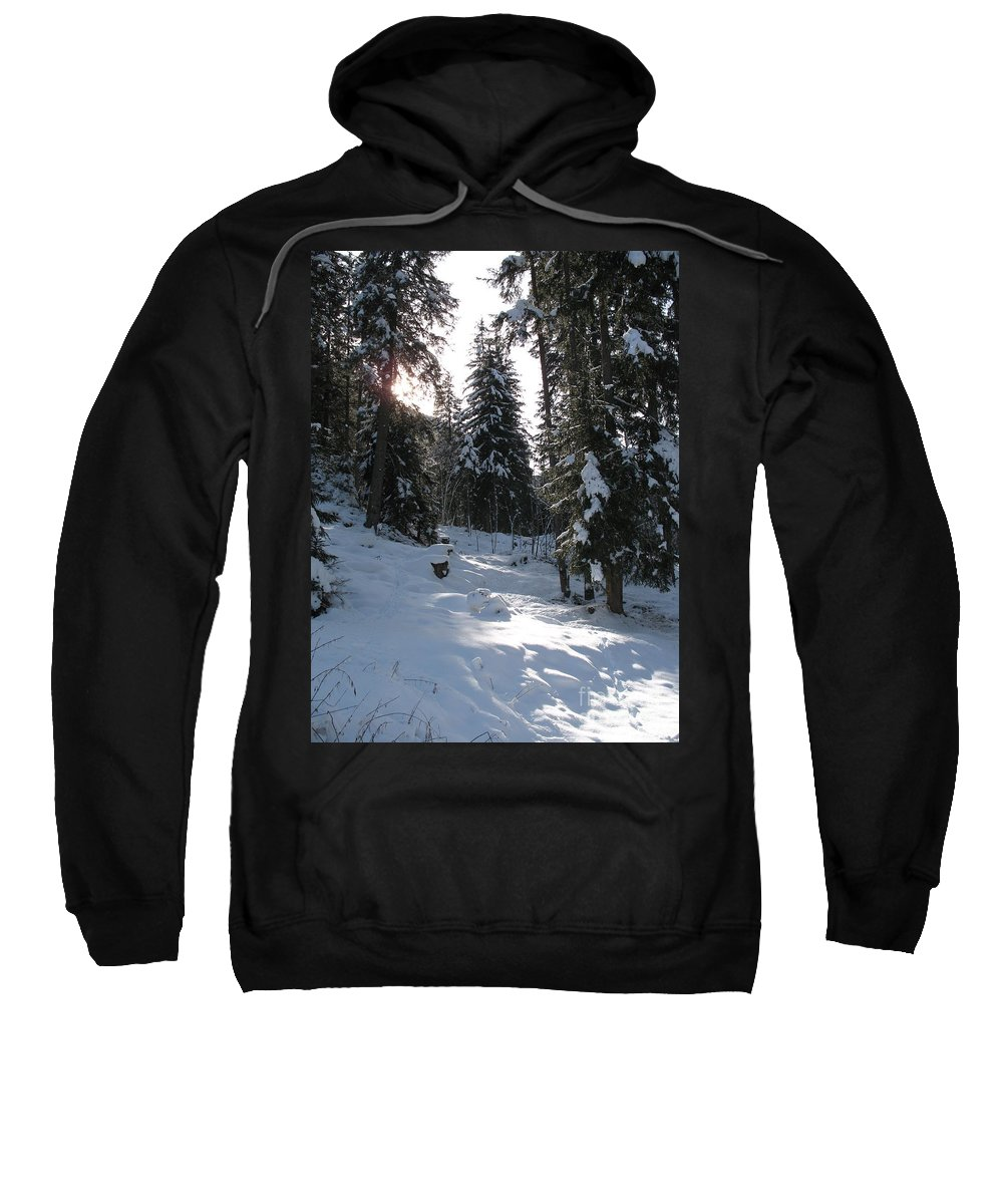Snow Sweatshirt featuring the photograph Light And Shadow On A Snowy Landscape by Christiane Schulze Art And Photography