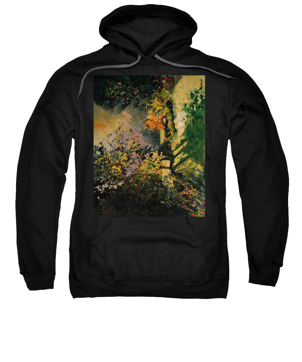 River Sweatshirt featuring the painting Light In The Wood by Pol Ledent