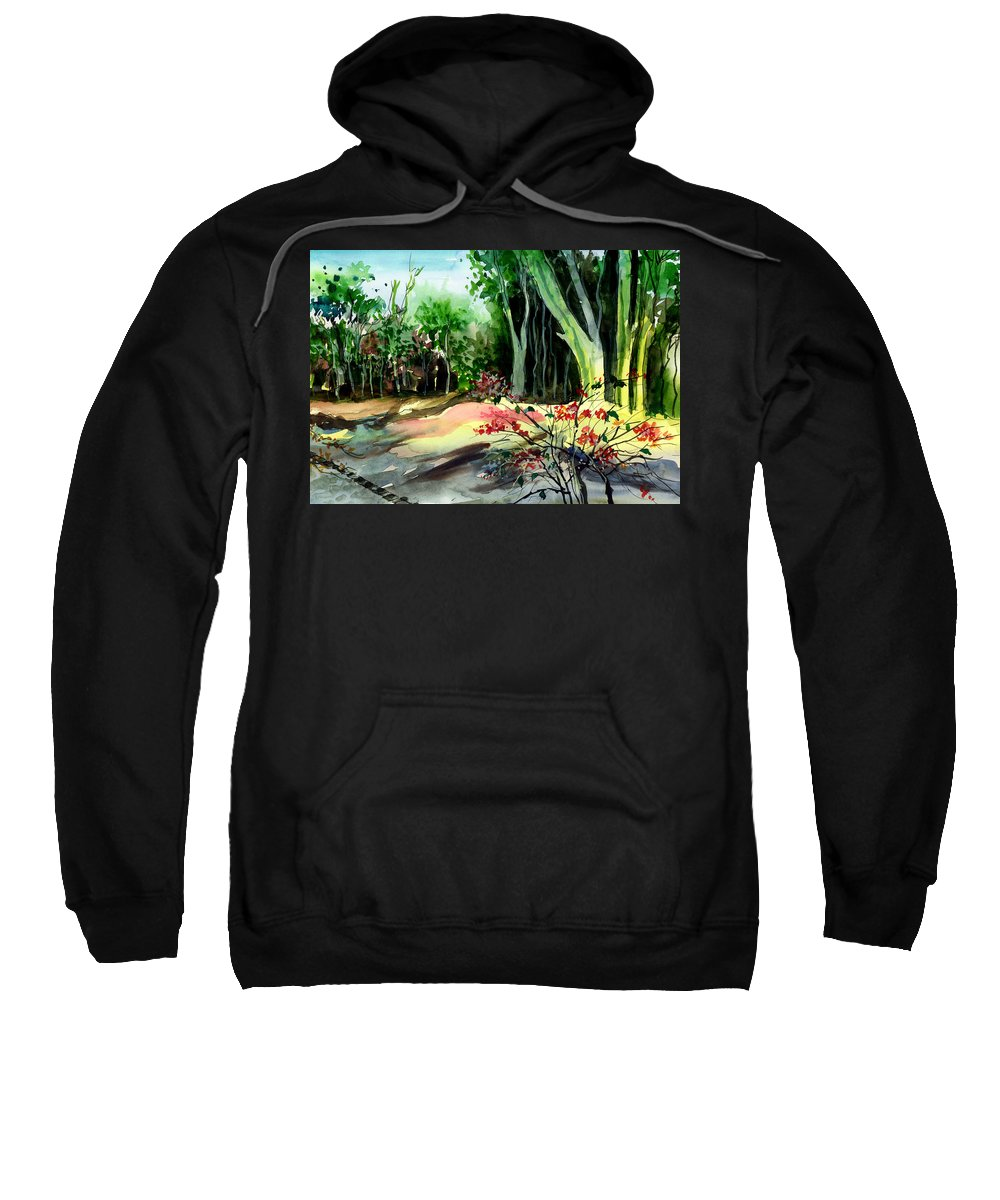 Watercolor Sweatshirt featuring the painting Light In The Woods by Anil Nene