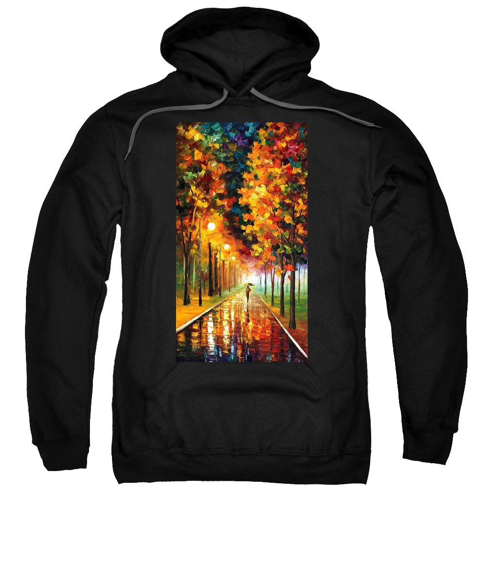 Afremov Sweatshirt featuring the painting Light Of Autumn by Leonid Afremov