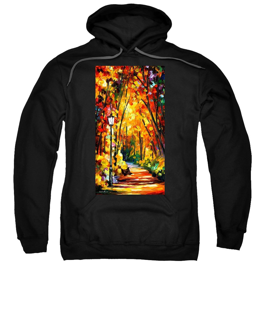 Art Gallery Sweatshirt featuring the painting Light Of The Forest - Palette Knife Oil Painting On Canvas By Leonid Afremov by Leonid Afremov