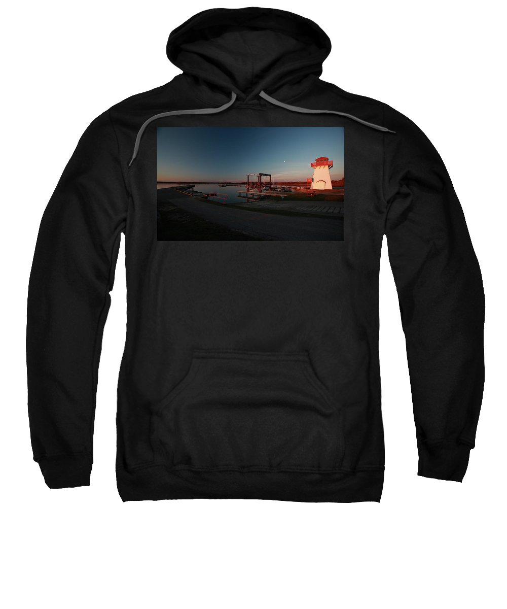 Lighthouse Sweatshirt featuring the digital art Lighthouse And Marina At Hecla In Manitoba by Mark Duffy