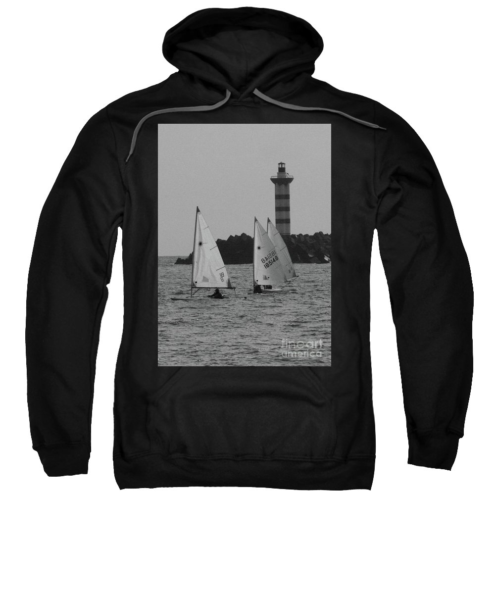 Light House Sweatshirt featuring the photograph Lighthouse Boats by Timothy Sanford