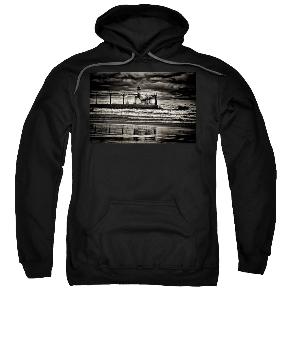 Reflections Sweatshirt featuring the photograph Lighthouse Reflections In Black And White by Scott Wood