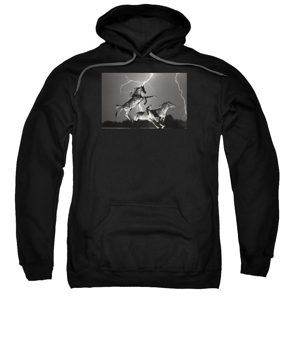 Horses Sweatshirt featuring the photograph Lightning At Horse World by James BO Insogna