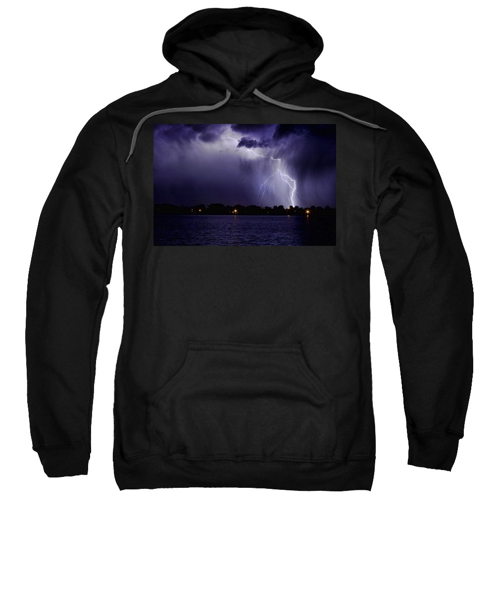 Lightning Sweatshirt featuring the photograph Lightning Bolt Energy Color by James BO Insogna