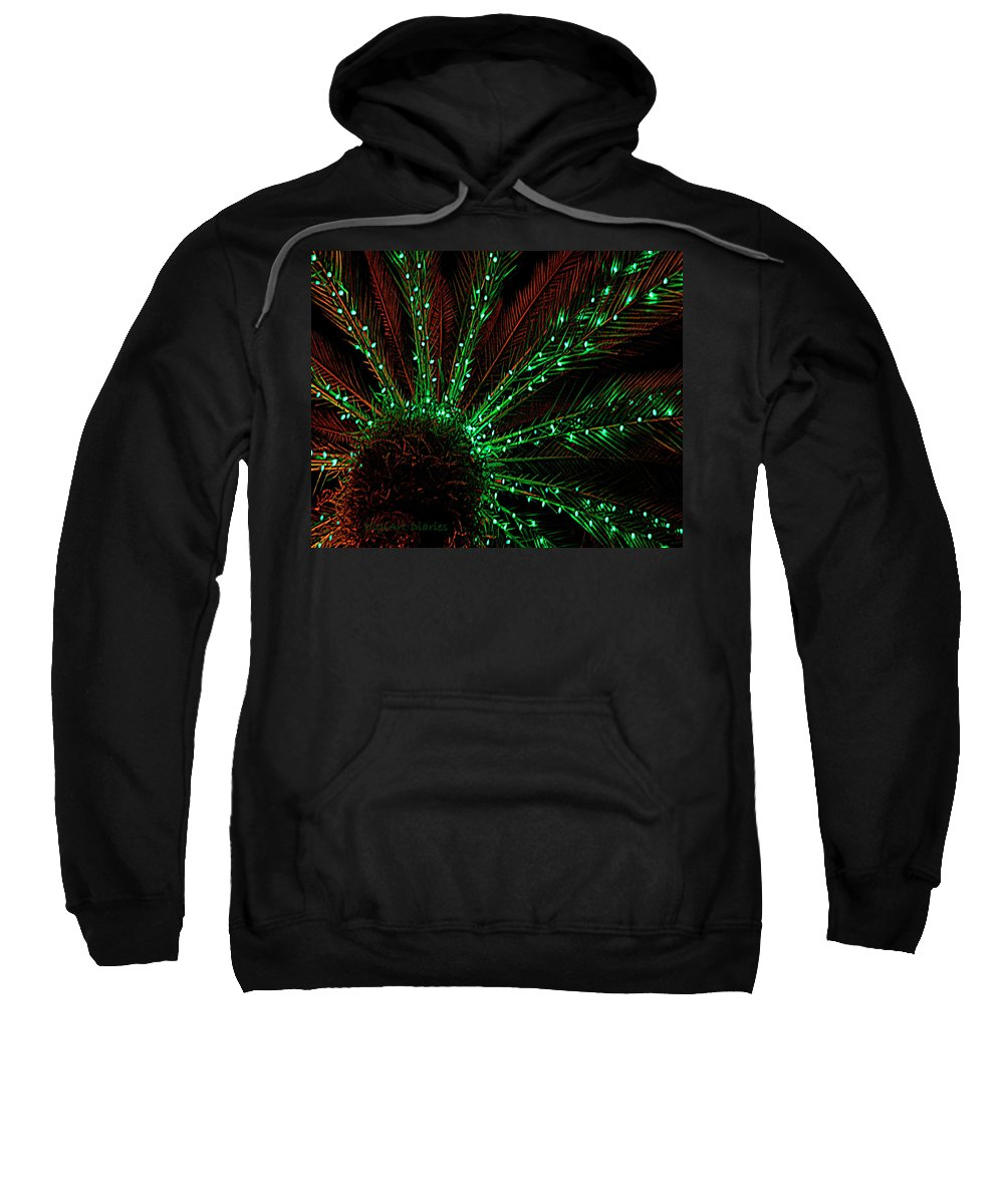 Lights Sweatshirt featuring the digital art Lights Beneath The Fronds by DigiArt Diaries by Vicky B Fuller