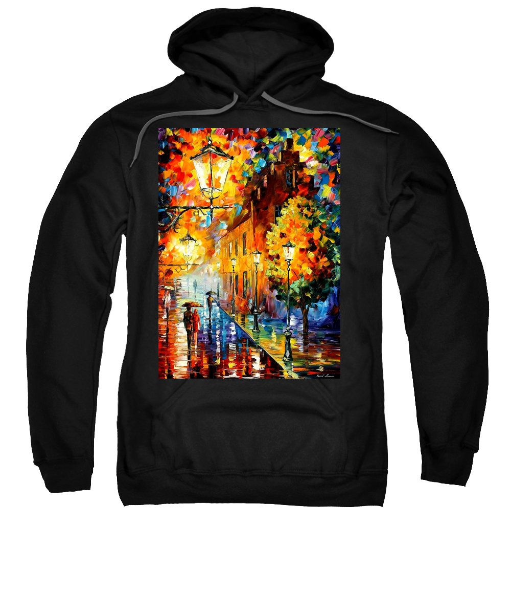 Afremov Sweatshirt featuring the painting Lights In The Night by Leonid Afremov